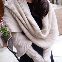 Hand Knitted Woolen Scarf Neck Warmer with Sleeves / SuchCloth