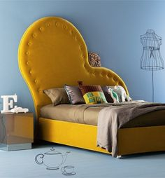 small apartments, interior design, beds, upholst headboard, yellow