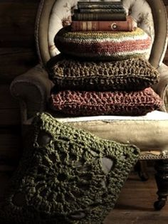 Crocheted pillow covers muted