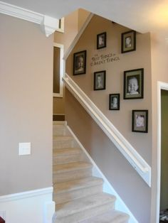 For our staircase.   The key to displaying family photos is in the uniformity of mat color and frames. Use different picture sizes to add interest to the grouping, but keep the width of the frames uniform. This way, no matter what you hang, in what configuration, it will look awesome!