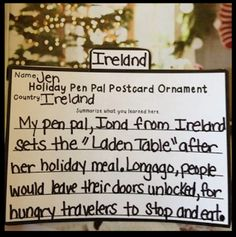 Holiday Pen Pals Around the World!!!! Students do 12 different close readings of pen pals from around the world gaining research about holidays from each country.  They follow that up with a Postcard Ornament (displaying that countries flag), Response Summarizing Letters, Text Dependent Questions, and finally a special Making Connections poster.  Students will have PLENTY activities for the entire month of December!!!!!!!