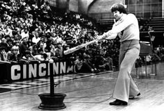 """FEBRUARY 4, 1979: Jumping On Spring: Philadelphia Phillies first baseman Pete Rose got some early spring training at the University of Cincinnati, where the former Reds' third baseman helped conduct UC's annual baseball clinic. One spectator among the 2500 in attendance asked Rose when to """"clear the hips"""" during a swing. Rose quipped, """"I don't know and I don't want to know."""" The highest salaried player in baseball told his audience to """"swing in a downward motion, like you're chopping wood."""""""