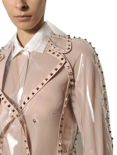 VALENTINO - STUDDED LEATHER TRIM PVC TRENCH COAT
