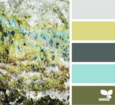 Mineral tones: light grey, chartreuse, cool navy, bright sea glass, olive green.