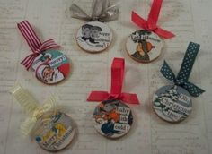 Decoupaged Wooden Christmas Ornaments — craftbits.com #vintage #diy