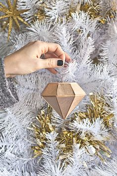 ornament diy, diy crafts, christma decor, diamond ornament, diy idea, holiday decorating, christmas trees, ornaments, decor idea