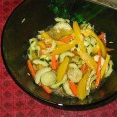 Marinated Vegetable Salad vegetable salads, veget salad, salad recipes, seed, food, marin veget, art, bell peppers, bandeau