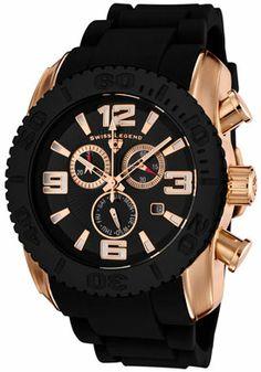 SWISS LEGEND 20067-RG-01-BB Men's Commander Chronograph Black Dial Black Rubber Watch