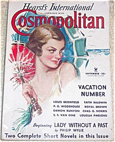 $74 Vintage original Cosmopolitan Magazine cover depicting a Lady on the beach holding a Parasol Harrison Fisher Cosmo cover
