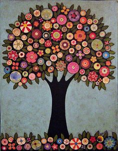 Folk Art Abstract Collage Tree Painting