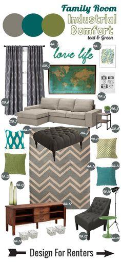 Design for Renters: Mood Board Industrial Comfort Family Room #moodboard #familyroom #livingroom #green #teal #chevronrug