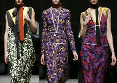 Prada A/W 2014/15-Expressive Brush Geometrics – Art Deco Geo Prints – Abstract Graphic Pattern – Diagonal Layouts – All-over Prints – 3 Dimensional Pattern Plays – Colours Contrasts – Geometric Form – Bold Graphic Shapes
