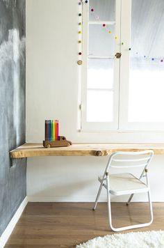 chalkboard wall and tree wood floating desk