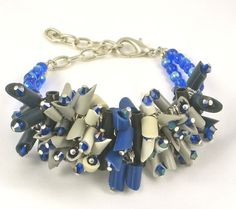 Check out the deal on Chunky bracelet blue, gray, eggshell eco friendly jewelry- Blue Moon at Eco First Art