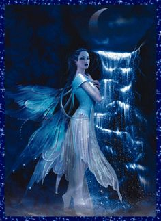 Fountain at Twilight...#fairy #faerie #fantasy #art #photo #blue
