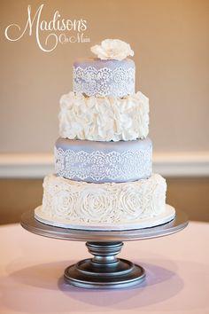 White Rosettes & Lace Cake