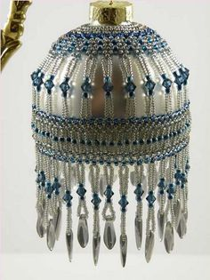 christma baubl, artdeco beauti, blue, bead christma, deco ornament