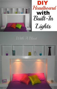 Easy DIY Headboard with lights which cast a lovely glow ~ link to plans and everything included in post ! #Headboard #DIY #DIYHeadboard #LightedHeadboard