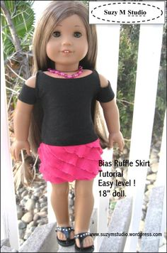 "Cute ruffle skirt tutorial for American Girl 18"" Doll using ruffled fabric and fold over elastic. Easy"