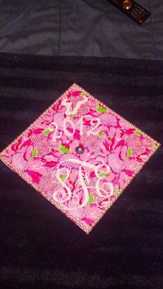Pink and green mortar board by #USF graduate @Sara Frick.