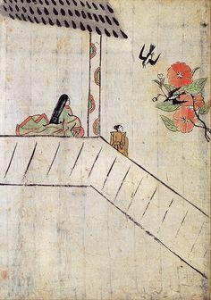 Karukaya, el primer libro joponés ilustrado, alrededor de 1400.