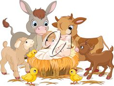 iCLIPART - Royalty Free Clipart Image of Baby Jesus and Animals