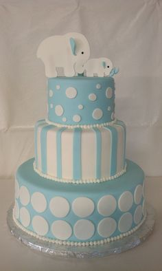 Baby Shower cake; what a lovely cake for a little one! Perfect for a birthday, christening or baby shower #Blue #White #Tier #Cake #Elephant
