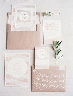 white and kraft invitation