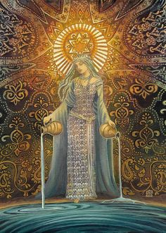 The Star Goddess of Hope Mythological Tarot Art 5x7 Card