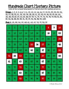 Christmas Themed Hundreds Chart Mystery Pictures