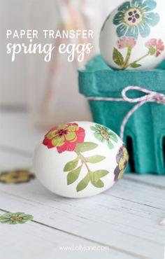 Cute Paper Transfer Spring Eggs tutorial by lollyjane.com