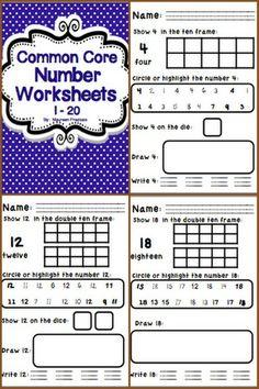 Common Core Number Worksheets for Kindergarten  $