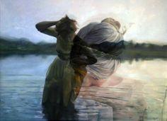 Double exposure/photorealistic painting! Oil and crylic paint, neat! San Francisco artist Pakayla Rae Biehn.