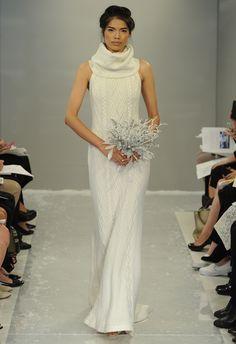 Cable Knit Sweater Wedding Dress | Theia Wedding Dresses Fall 2015 | Maria Valentino/MCV Photo | blog.theknot.com