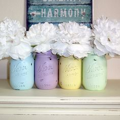 4- Hand Painted Pint Mason Jar Flower Vases-PastelsCollection Two-Country Decor-Cottage Chic-Shabby Chic-French Chic
