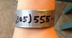 Safety - DUCT TAPE phone number bracelet for amusement parks, festivals, large crowds. Field trips!