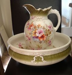 Vintage Antique Porcelain Water Pitcher Wash Bowl and Basin Green Flower Painted |