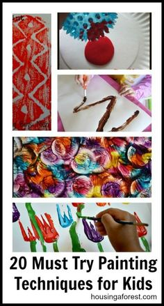 20 Must Try Painting Techniques for Kids ~ Lots of fun painting ideas