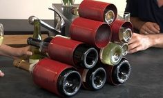 Wine rack from food cans!