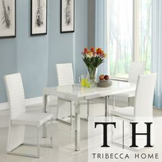 TRIBECCA HOME Reynold White Metal Sleek Modern 5-piece Dining Set