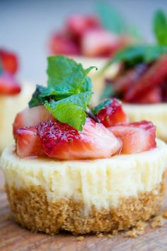 Cheesecake Minis with Strawberry Balsamic Mint Topping