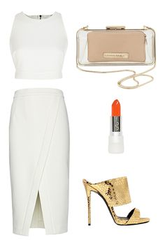 River Island White Ribbed Cut-Out Crop Top, $45, available at River Island; Banana Republic Lucite Clutch, $77.99, available at Banana Republic; USLU Airlines Bright Coral Red Lipstick, $25, available at Joyus; Guiseppe Zanotti 100MM Python Printed Leather Sandals, $750, available at Luisa Via Roma; Nicholas Crossover Hem Pencil Skirt, $395, available at Intermix.