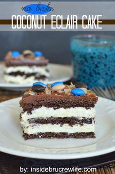 Coconut Eclair Cake - chocolate graham crackers and coconut pudding come together in a delicious no bake dessert  http://www.insidebrucrewlife.com