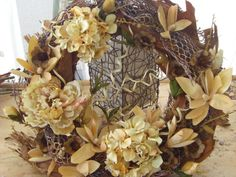 Palm Bark and Magnolia Blossom Wreath with by VictoriaGreenFlowers, $49.95