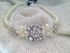 Pearl silver and rhinestone stranded by CelestialCreations4u, $30.00