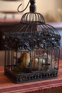 spring decor ~ so simple birdcage bird and nest with eggs