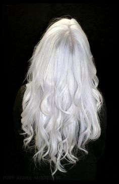 My Hubby plays Dark Elf. So we are slowly making his hair white. Here is how we are doing it, Since he has silver and grey hair we are using the shampoo and conditioner for silver hair to take out the brassy tones. Then about 1 week later we will use Manic Panic Snow White dye, while he continues to use the shampoo and conditioner. Just touch ups after that.