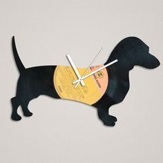 sausage dog clock made from a record