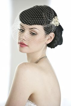 Edith Birdcage blusher Veil--gold option. I like this better.