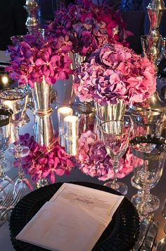 Small vases overflowing with hydrangeas look lush without breaking the bank.